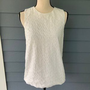 Madewell Eyelet White Tank Lined S